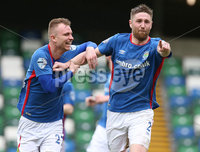 Danske Bank Premiership Play-off , Windsor Park, Belfast  7/4/2018. Linfield FC vs Ballymena United. Linfield\'s   Mark Stafford celebrates with Andrew Mitchell after opening the scoring against Ballymena United.. Mandatory Credit @INPHO/Brian Little