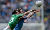 GAA Football All Ireland Senior Championship Quarter-Final, Croke Park, Dublin 2/8/2015. Dublin vs Fermanagh. Dublin\'s Jack McCaffrey with Paul McCusker of Fermanagh. Mandatory Credit ©INPHO/Donall Farmer