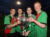 Presseye Northern Ireland - 14th May 2012 Mandatory Credit - Photo-William Cherry/Presseye. George Wilson Cup Final - Glentoran II\'s v Cliftonville Olympic. Glentoran II\'s goal heroes John McGuigan, Jim O\'Hanlon, Owain Beggs and Ross Davidson lift the George Wilson Cup after defeating Cliftonville Olympic during Monday nights Cup Final at Seaview, Belfast.