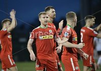 . Danske Bank Premiership, Solitude, Belfast 3/11/2018. Cliftonville vs Glentoran. Cliftonville player Chris Curran  celebrate at the final whistle. Mandatory Credit INPHO/Stephen Hamilton