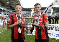 4th May 2019. Tennents Irish cup final between Crusaders and Ballinamallard at the National Stadium Belfast.. Crusaders pDeclan Caddell  celebrates with Jordan Forsythe. Mandatory Credit -Inpho/Stephen Hamilton .