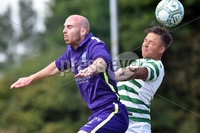 © Press Eye.com 12th August 2017. NIFL Championship 1. Lurgan Celtic v Newry City.. Celtic\'s Adam Rodgers. and Newry\'s Kevin McArdle. during Saturday\'s match at Knockramer Park. Photo by TONY HENDRON/Presseye.com