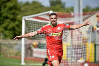 Press Eye Belfast - Northern Ireland 12th August 2017. Danske Bank Irish Premier league match between Cliftonville and Ards at Solitude Belfast.. Cliftonville\'s Joe Gormley celebrates after he scores to make it 5-2.  Photo by Stephen  Hamilton / Press Eye