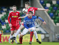 Tennent\'s Irish Cup Quarter-Final, Windsor Park, Belfast 13/3/2018 . Linfield vs Cliftonville. Linfield\'s Mark Haughey with Cliftonville\'s Shane Grimes. Mandatory Credit ©INPHO/Jonathan Porter