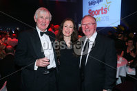 Press Eye - Belfast - Northern Ireland - 6th February 2017 -  . Belfast Telegraph Sports Awards 2016.. Ed Curran, Gail Walker and Dennis Taylor.. Photo by Kelvin Boyes / Press Eye..