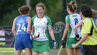 Mandatory Credit: Rowland White/Presseye. Women\'s Hockey: Senior Celtic Cup. Teams: Ireland (green) v Scotland (blue). Venue: Lisnagarvey. Date: 28th June 2012. Caption: Ireland captain, Alex Speers is not amused