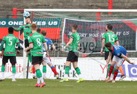 Danske Bank Premiership, The Oval, Belfast, Northern Ireland. 1/5/2021. Glentoran vs Linfield FC . Glentoran  Robbie McDaid heads  Linfield Mark Stafford header  off the line   . Mandatory Credit INPHO/Presseye/Brian Little