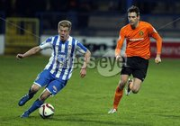 Mandatory Credit - Picture by Freddie Parkinson/Press Eye ©. Saturday 21st November 2015. NIFL Premiership. The Showgrounds, Coleraine.. Coleraine FC vs. Carrick Rangers FC. Coleraine\'s Lyndon Kane and Carrick\'s Mark Surgenor