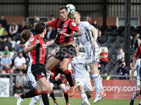 11th July 2019. Europa league First round qualifying match between Crusaders and B36 Torshavn at Seaview Belfast.. Crusaders Declan Caddell  in action with Torshavns Andreas Erikson. Mandatory Credit / Stephen Hamilton/Inpho