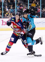 Press Eye - Belfast -  Northern Ireland - 14th September 2018 - Photo by William Cherry/Presseye. Belfast Giants\' Kyle Baun with Dundee Stars\' during Friday nights Challenge Cup game at the SSE Arena, Belfast.       Photo by William Cherry/Presseye