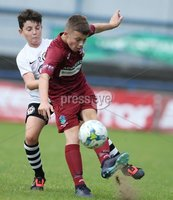 PressEye-Northern Ireland- 27th   July  2018-Picture by Brian Little/PressEye. SuperCupNI. Minor  Section . Greenisland  Bobby Higgins    against Bertie Peacock Youths  Michael Stewart     during the SuperCupNI Minor Final  at Coleraine Showgrounds. . Picture by Brian Little/PressEye