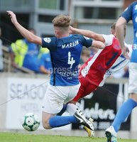Danske Bank Premiership, Mourneview Park, Lurgan 4/8/2018. Glenavon FC vs  Linfield FC. Linfield Daniel Kearns scores against  Glenavon. Mandatory Credit @INPHO/Brian Little.