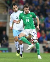 PressEye-Northern Ireland- 11th September  2018-Picture by Brian Little/ PressEye. Northern Ireland  Stuart Dallas    and Israel  Shmuel  Scheimann   during  Tuesday\'s  Friendly International Challenge match at the National Football Stadium at Windsor Park.. Picture by Brian Little/PressEye .