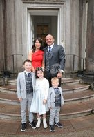 Press Eye - Belfast - Northern Ireland - 8th September 2018 - . Rory Best and wife Jodie along with his children Ben, Penny and Richie pictured at the Archbishop's Palace in Armagh along with friends and family of Dr Rory Best OBE to witness the sportsman's conferment with the Freedom of the Borough of Armagh City, Banbridge and Craigavon..  . Photo by Kelvin Boyes / Press Eye..