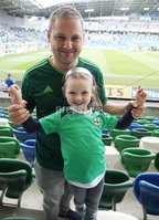 PressEye-Northern Ireland- 8th September  2018-Picture by Brian Little/ PressEye. Fans Peter and Sophie Shields aged 5  from Newtownards supporting Northern Ireland against Bosnia and Herzegovina      during  Saturday\'s  UEFA Nations League match at the National Football Stadium at Windsor Park.. Picture by Brian Little/PressEye .