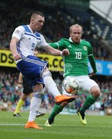 PressEye-Northern Ireland- 8th September  2018-Picture by Brian Little/ PressEye. Northern Ireland  Liam Boyce      and Bosnia and Herzegovina  Hasis Duljevic    during  Saturday\'s  UEFA Nations League match at the National Football Stadium at Windsor Park.. Picture by Brian Little/PressEye .