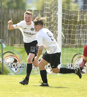 26th  July 2018. SuperCupNI 2018 Minor  section semi final between Greenisland and Portadown at Seahaven Portstewart.. Greenisland\'s Jack Patterson celebrates after netting from the spot.  Mandatory Credit: Stephen Hamilton /Presseye