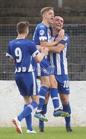 Danske Bank Premiership, Showgrounds, Coleraine 4/8/2018. Coleraine vs Warrenpoint. Coleraine\'s Eoin Bradley celebrates scoring a goal with Alexander Gawne and Ciaran Harkin. Mandatory Credit ©INPHO/Lorcan Doherty