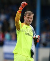 Danske Bank Premiership, Mourneview Park, Lurgan 4/8/2018. Glenavon FC vs  Linfield FC. Linfield goal keeper Roy Carroll celebrates a 1-0 victory against Glenavon.. Mandatory Credit @INPHO/Brian Little.