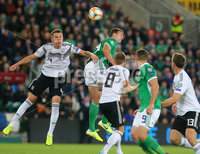 Press Eye - Belfast - Northern Ireland - 9th September 2019 . UEFA EURO Qualifier Group C at the National Stadium at Windsor Park, Belfast.  Northern Ireland Vs Germany. . Northern Ireland\'s Jonny Evans.  with Germany\'s Matthias Ginter. Photo by Jonathan Porter / Press Eye.