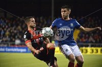 12th September 2017 . Danske Bank Irish premier league match between Crusaders and Linfield at Seaview.. Crusaders Michael Carvill  in action with Linfields Stephen Lowry.  Photo by Stephen Hamilton /Inpho