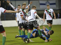 Bet Mclean league cup 3rd round . 8th October 2019. Coleraine  v Glentoran ay Ballycastle road, Coleraine. Coleraines Eoin Bradley  in action with Glentorans Joe Crowe. Mandatory Credit INPHO/Stephen Hamilton.