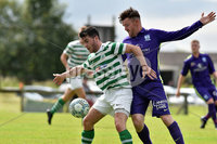 © Press Eye.com 12th August 2017. NIFL Championship 1. Lurgan Celtic v Newry City.. Celtic\'s Philip Donnelly. and Newry\'s Ruairi Cunningham. during Saturday\'s match at Knockramer Park. Photo by TONY HENDRON/Presseye.com