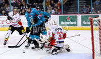 Press Eye - Belfast -  Northern Ireland - 11th January 2019 - Photo by William Cherry/Presseye. Belfast Giants Kyle Baun with HK Gomels Roman Bobariko during Friday nights Continental Cup Final game at the SSE Area, Belfast.   Photo by William Cherry/Presseye