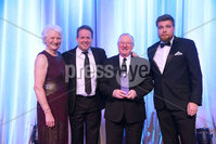 Press Eye - Belfast - Northern Ireland - 6th February 2017 -  . Belfast Telegraph Sports Awards 2016.. Award 12 - Hall of Fame award. Snooker legend Dennis Taylor was given the Hall of Fame award, sponsored by the Parr Group. It was presented by Steve Parr, Managing Director of Parr Group, snooker star Joe Swail and Tyrone Manager Mickey Harte..  . Photo by Kelvin Boyes / Press Eye..