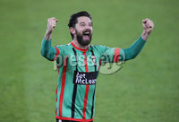 Danske Bank Irish Premiership Europa League Play-Off Semi Final, Windsor Park, Belfast. 9/5/2018. Linfield vs Glentoran. Glentoran Curtis Allen celebrates victory against Linfield  at the final whistle. Mandatory Credit@INPHO/ Brian Little