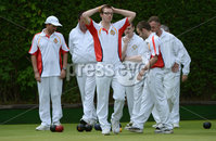 Mandatory Credit: Rowland White/Presseye. Bowls: Inter-Association . Teams: Private Greens League (red and white) v Provincial Bowling Association (white). Venue: Belmont. Date: 2nd June 2012. Caption: Andy Duncan, PGL can\'t believe it