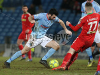 Danske Bank Premiership, Ballymena United vs Cliftonville, The Ballymena Showgrounds, Co. Antrim . 3/4/2018 . Ballymena United\'s Joe. McKinney in action with Cliftonville\'s Rory. Donnelly. Mandatory Credit ©INPHO/Matt Mackey