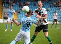 Danske Bank Premiership, Showgrounds, Ballymena  24/8/2019. Ballymena United  vs Glentoran FC . Ballymena United\'s Ryan Harpur  and John Herron  of Glentoran .. Mandatory Credit  INPHO/Brian Little