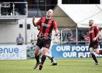 11th July 2019. Europa league First round qualifying match between Crusaders and B36 Torshavn at Seaview Belfast.. Crusaders Jordan Owens rues a missed penalty. Mandatory Credit / Stephen Hamilton/Inpho