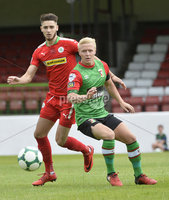 4th August 2018. Danske Bank Irish premier league match between Glentoran and Cliftonville at The Oval in Belfast.. Glentorans Connor Aindriu Pepper in action with Cliftonvilles Jay Donnelly.  Mandatory Credit: Stephen Hamilton /Inpho