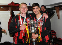 ©Press Eye Ltd Northern Ireland - 12th May 2012. Crusaders Chris Morrow and David Gibson celebrates after they won the Setanta cup.. Mandatory Credit - Picture by Stephen Hamilton /Presseye.com. .