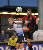 6th August 2018. Danske Bank Irish premier league match between Crusaders and Ards at Seaview.. Crusaders Colin Coates  in action with Ards Joshua Kelly.  Mandatory Credit: Stephen Hamilton /Inpho