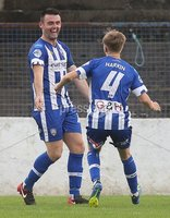 Danske Bank Premiership, Showgrounds, Coleraine 4/8/2018. Coleraine vs Warrenpoint. Coleraine\'s Eoin Bradley celebrates scoring a goal with Ciaran Harkin. Mandatory Credit ©INPHO/Lorcan Doherty