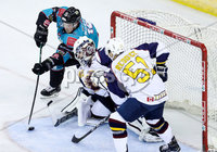 Press Eye - Belfast -  Northern Ireland - 10th October 2018 - Photo by William Cherry/Presseye. Belfast Giants\' Darcy Murphy with Guildford Flames\' Travis Fullerton during Wednesday nights Elite Ice Hockey League game at the SSE Arena, Belfast.        Photo by William Cherry/Presseye.