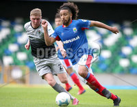 Danske Bank Premiership, Windsor Park, Belfast 10/8/2019. Linfield vs Institute. Linfield\'s Bastien Hery with Institute\'s Evan Tweed. Mandatory Credit INPHO/John McVitty