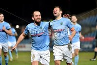 Tennent\'s Irish Cup Round 6, Windsor Park, Belfast 11/2/2019. Ballymena v Portadown. Ballymena\'s Jim Ervin celebrates a after scoring. Mandatory Credit INPHO/Stephen Hamilton.