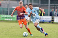 © Presseye.com- August 12th 2017, Danske Bank Premiership.. Warrenpoint Town v Glenavon %:30 Kick off.. Warrenpoint\'s Luke Fisher. and Glenavon\'s Rhys Marshall. during Saturday\'s match at Milltown. Photo by TONY HENDRON/Presseye.com. .