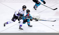 Press Eye - Belfast -  Northern Ireland - 10th March 2018 - Photo by William Cherry/Presseye. Belfast Giants Sebastien Sylvestre with Braehead Clan\'s Adam Brace during Saturday evenings Elite Ice Hockey League game at the SSE Arena, Belfast.