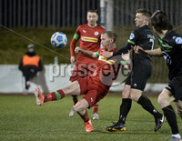 9thFebruary 2021. Danske Bank Irish league,Solitude,Belfast. Cliftonville v Warrenpoint Town .. Cliftonvilles Liam Bagnall  in action with Warrenpoints Kealan Doillon. Mandatory Credit   Inpho/Stephen Hamilton