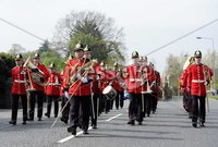Presseye Ltd Northern Ireland 3rd May 2012. Mandatory Credit - Photograph by Declan Roughan / Presseye. Home Coming Parade - 2 Mercian Regiment - Holywood - 3rd May 2012. 2 Mercian Regiment were welcomed back from Afganistan to their home base at Palace Barracks with a \'Homecoming\' parade through Holywood at the invitaion of North Down Borough council yesterday.Around 450 Soldiers paraded led by the Regimental Mascot - Lance Corporal Derby (a Ram) and the Band of the Prince of Wales\' Division.
