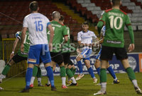 4th May 2021. Danske Bank Irish league,The Oval,Belfast.. Glentoran v Coleraine .  Coleraines  Steven Lowry fires home his sides equalising goal. Mandatory Credit Inpho/Stephen Hamilton