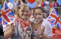 ©Russell Pritchard / Presseye  - 4th June 2012. Diamond Jubilee Street Party, Main Street Broughshane. Ellie Brewster and Joey Cheung. ©Russell Pritchard / Presseye