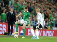 Press Eye - Belfast - Northern Ireland - 9th September 2019 - Picture Matt Mackey / Press Eye.. EURO qualifier 2020 match at the National Stadium at Windsor Park, Belfast. Northern Ireland Vs Germany.. Northern Ireland\'s Stuart Dallas with Germany\'s Julian Brandt.