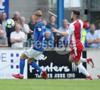 Danske Bank Premiership, Mourneview Park, Lurgan 4/8/2018. Glenavon FC vs  Linfield FC. Glenavon\'s  Mark Sykes goes close to scoring against  Linfield.. Mandatory Credit @INPHO/Brian Little.