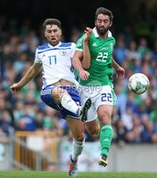 PressEye-Northern Ireland- 8th September  2018-Picture by Brian Little/ PressEye. Northern Ireland  Will Grigg      and Bosnia and Herzegovina Ervin Zukanovic     during  Saturday\'s  UEFA Nations League match at the National Football Stadium at Windsor Park.. Picture by Brian Little/PressEye .